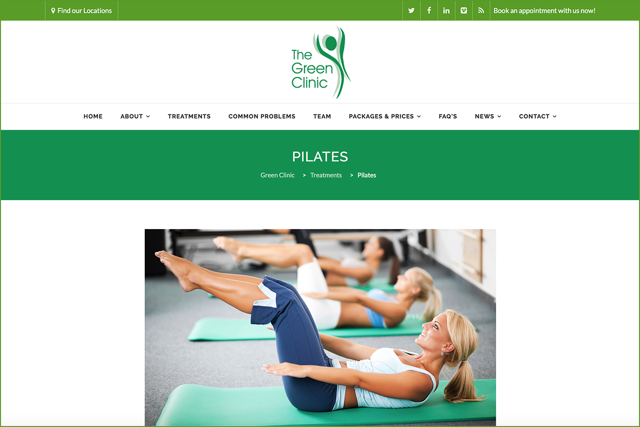 Green Clinic Pilates page