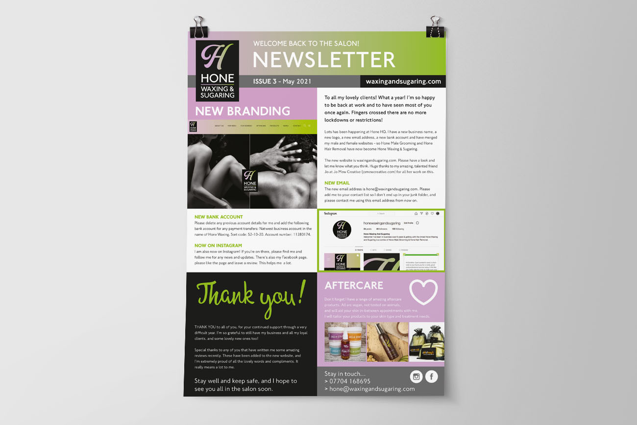 PF Hone Waxing & Sugaring Newsletter 3
